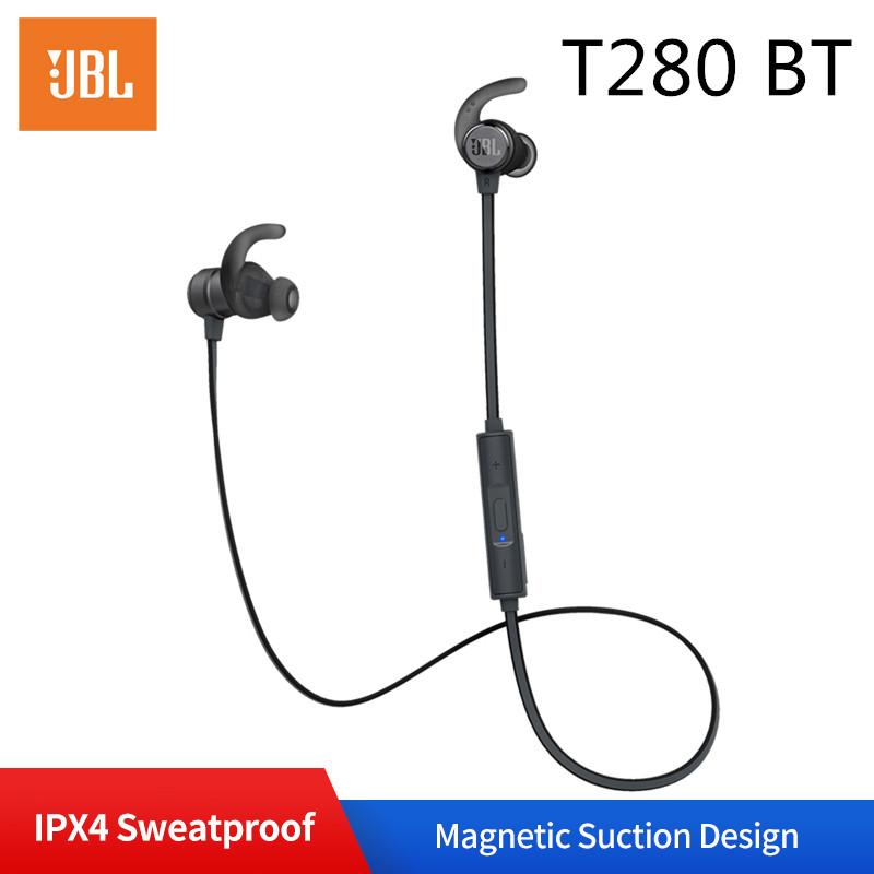 JBL T280BT Bluetooth Headphones Wireless Sport Earphone Sweatproof Headset In-line Control Volume with Microphone gray