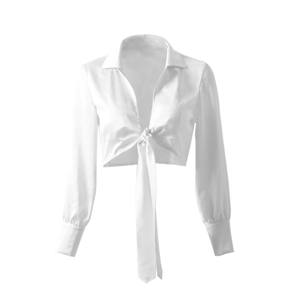 Women V-neck Satin Tops Long-sleeved Bowknot Tie Fashion Crop Top Blouse 8207-2 white_S