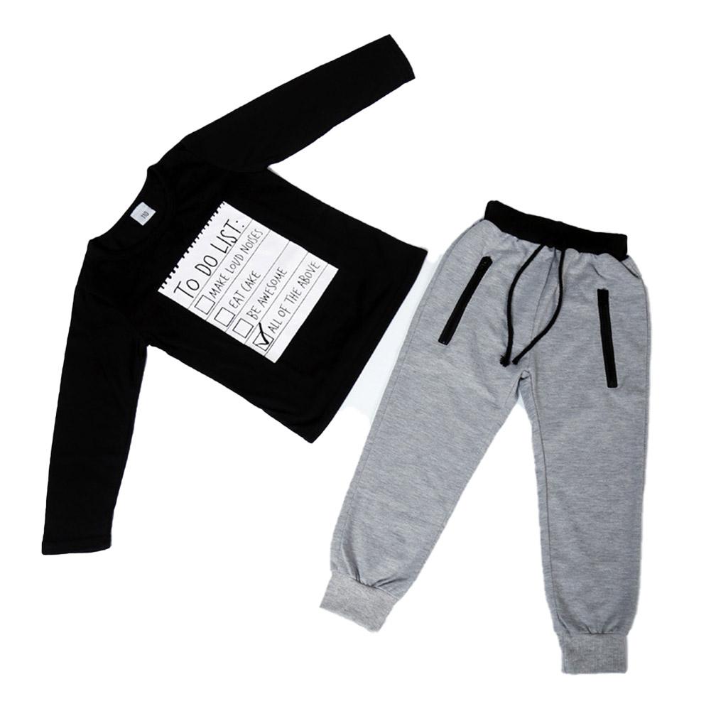 2 Pcs/set Boys Suit Letter Printing Long-sleeve T-shirt + Pants Suit for 3-8 Years Old black_120cm