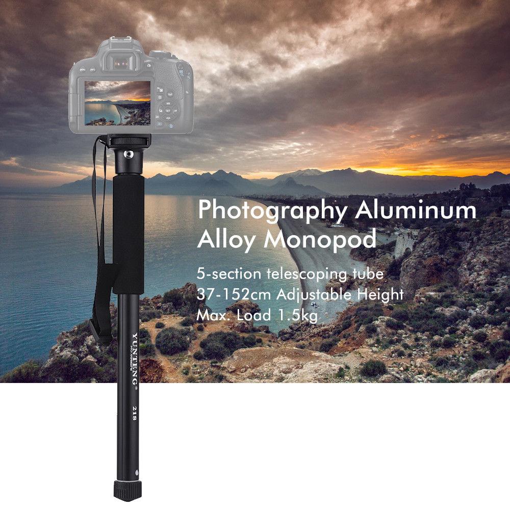 YUNTENG YT-2186 Portable Lightweight Aluminum Alloy Monopod Stand for DSLR Camera Smartphone black