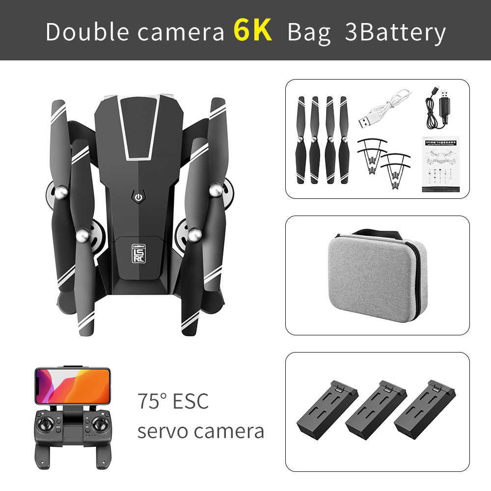 Ls-25 Drone 6k 4k Ultra Hd Dual Camera Ptz Drone 5g Wifi Gps Height Maintain Headless Mode Rc Quadcopter 6k Professional 6k pixel configuration 3 battery package