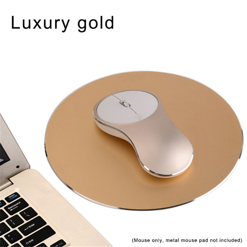 Ultra Slim Portable 2.4Ghz 1600dpi Aluminum Alloy Mute Rechargeable Mouse Wireless Charger Optical Gaming Mouse Gold