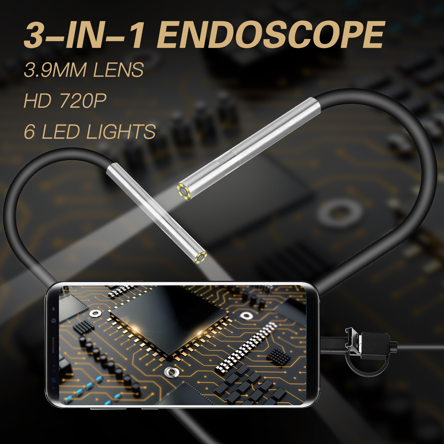 AN100 Rigid Line Endoscope Camera Flexible IP67 Waterproof Inspection Borescope Camera Hard line 10 meters