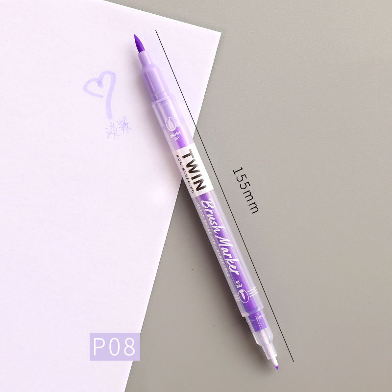 Double Head Marker Pen Multi Color Watercolor Water Based Hand Account Painting Pen Stationery Office Stationery light purple_15cm