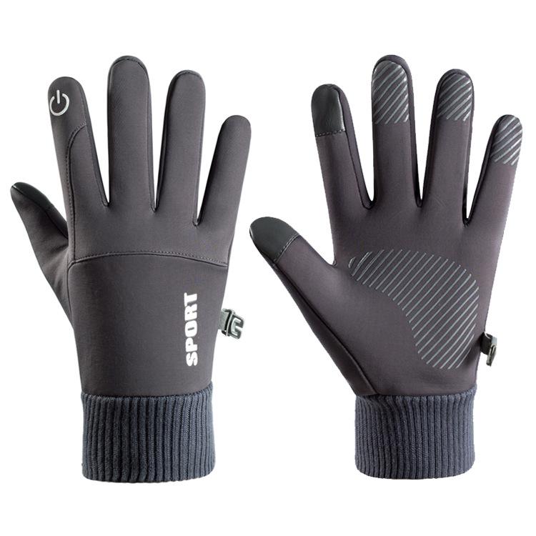 Men Women Thermal Fleece Gloves Waterproof Running Jogging Cycling Ski Sports Touchscreen Fleece Gloves gray_One size