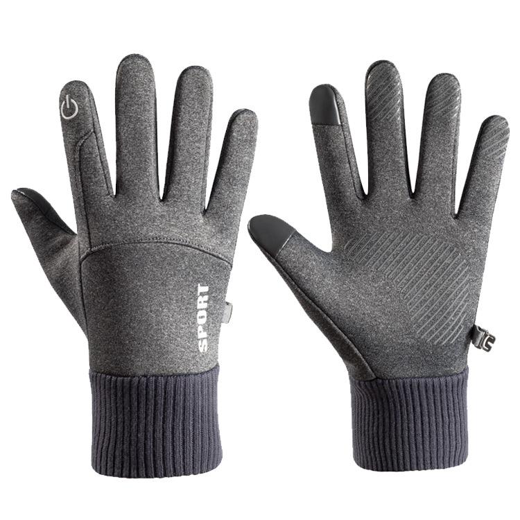 Men Women Thermal Fleece Gloves Waterproof Running Jogging Cycling Ski Sports Touchscreen Fleece Gloves grey_One size