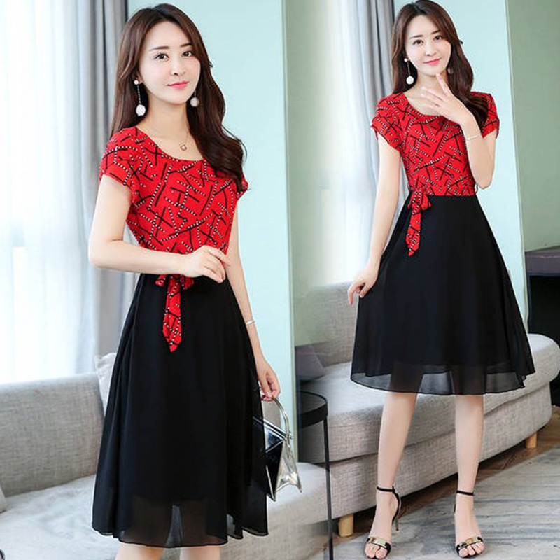Women Summer Casual Fashion Stripe Pattern Short-sleeved A-shaped Dress red_L