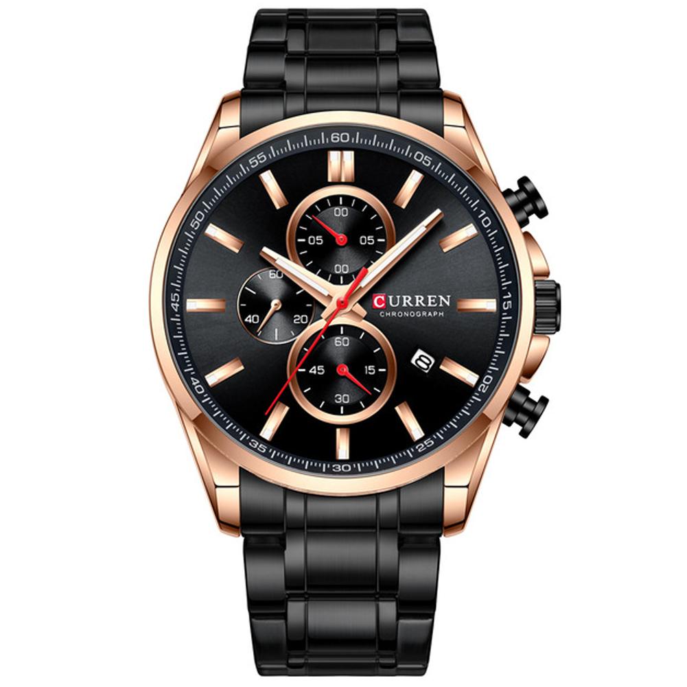 Men Quartz Watch Chronograph Date Luminous Waterproof Stainless Steel Band Business Wristwatch Black
