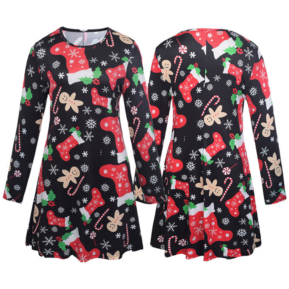 Parent-child Outfit Christmas Snowflake Stockings Printed Long-sleeved Dress Matching Clothes black_S