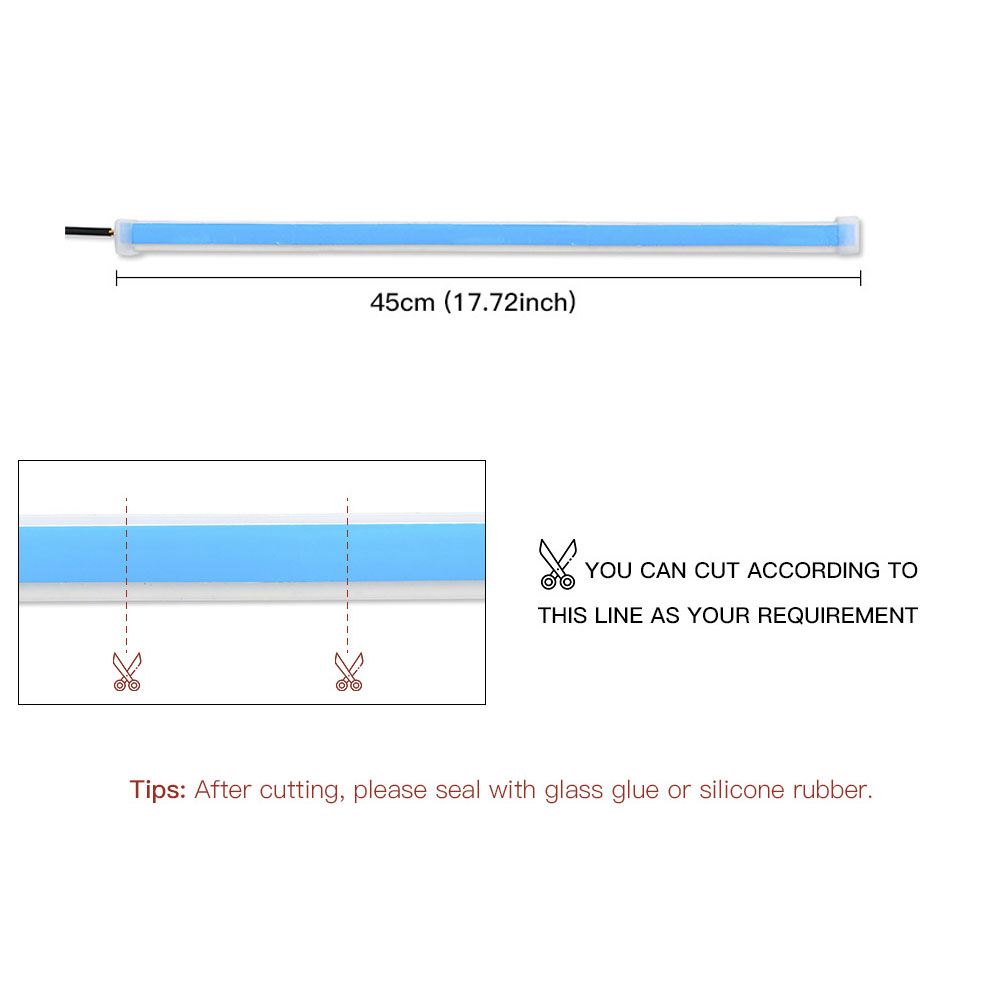 2pcs Automotive LED Turn Signal Driving Light Belt, Ultra-thin Light Guide Strip Two-color Streamer Turn Decorative Light Accessories 45CM ice blue yellow pair