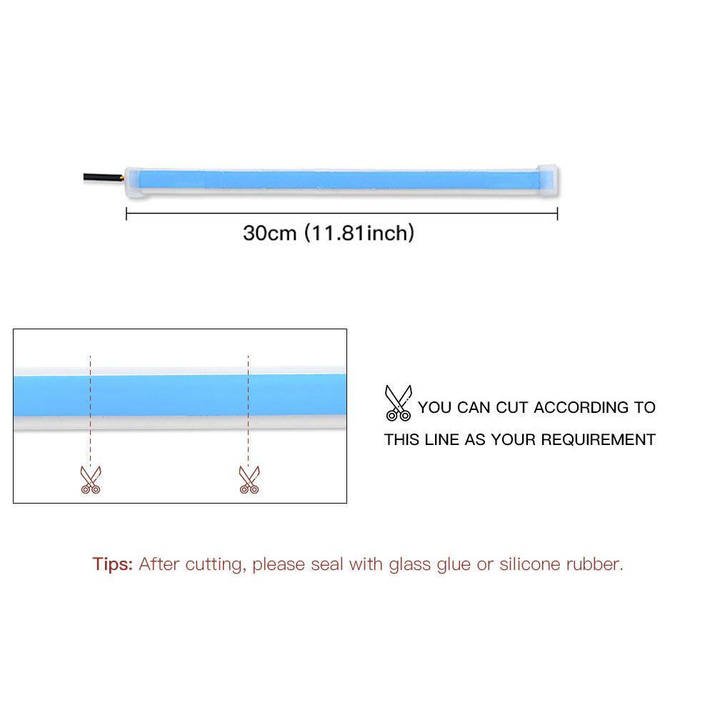 2pcs Automotive LED Turn Signal Driving Light Belt, Ultra-thin Light Guide Strip Two-color Streamer Turn Decorative Light Accessories 30CM blue and yellow pair