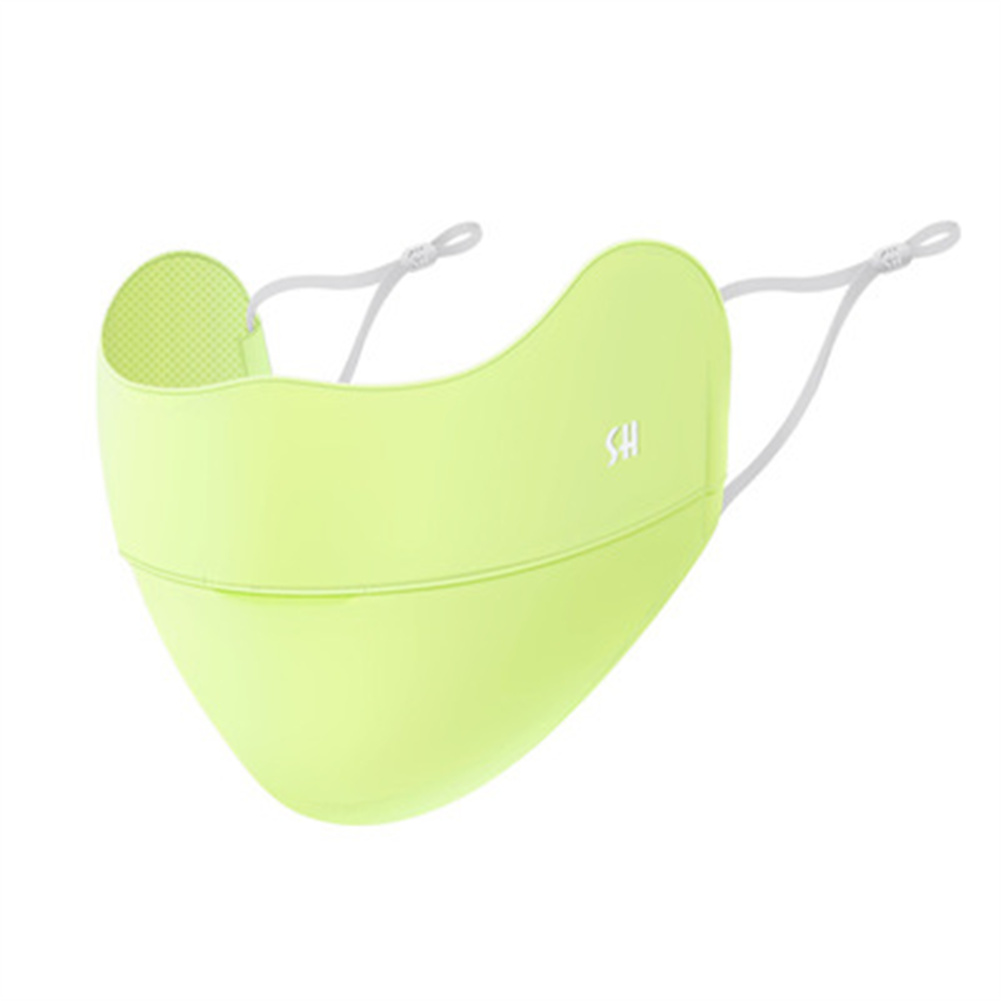 Outdoor  Sunscreen  Mask Ice Silk Face Mask Dustproof Windproof Ultraviolet-proof Breathable Mask Fluorescent yellow_One size
