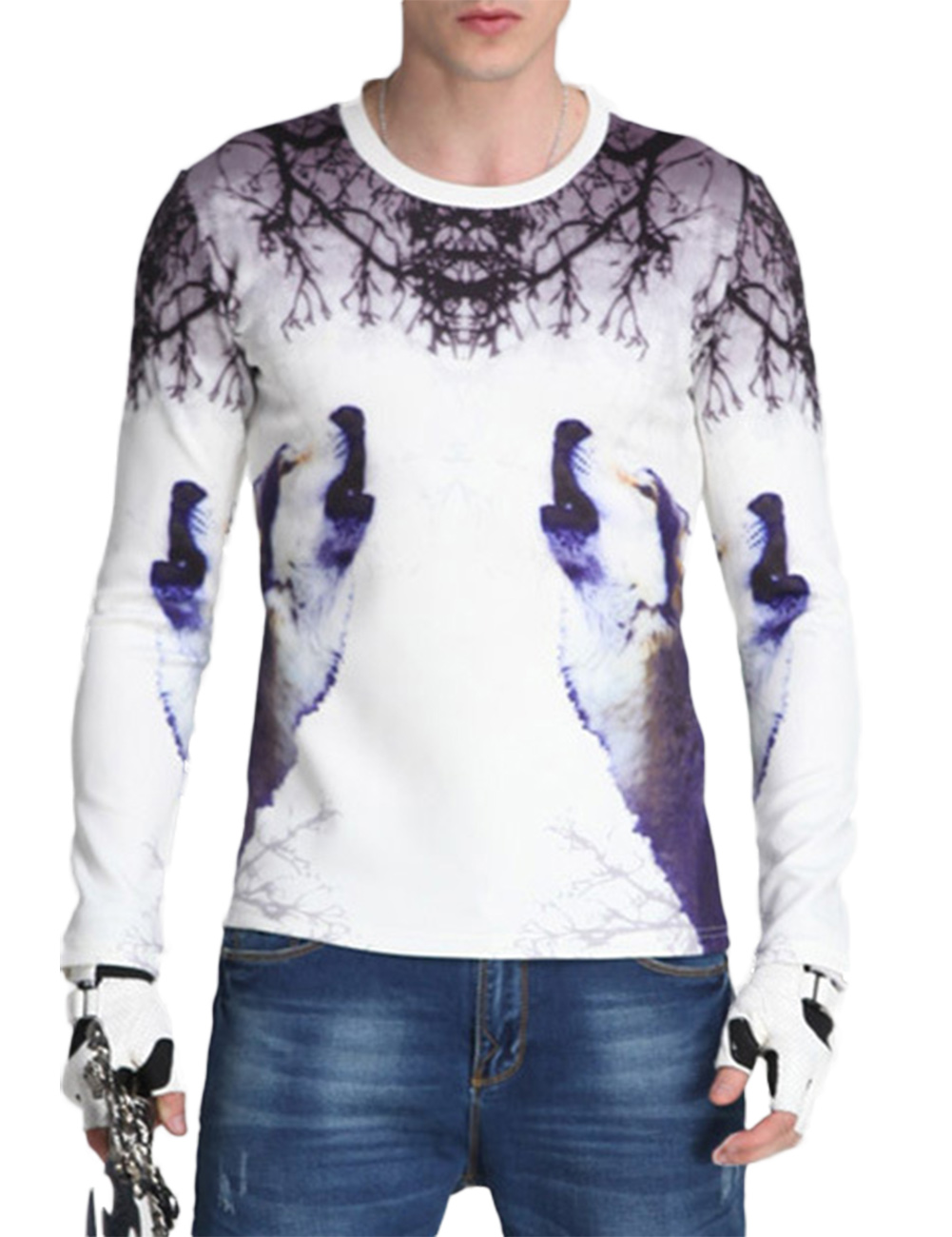 [US Direct] Men's Fashion Slim Long Sleeve Digital Print T-shirt  White XL equal to American M