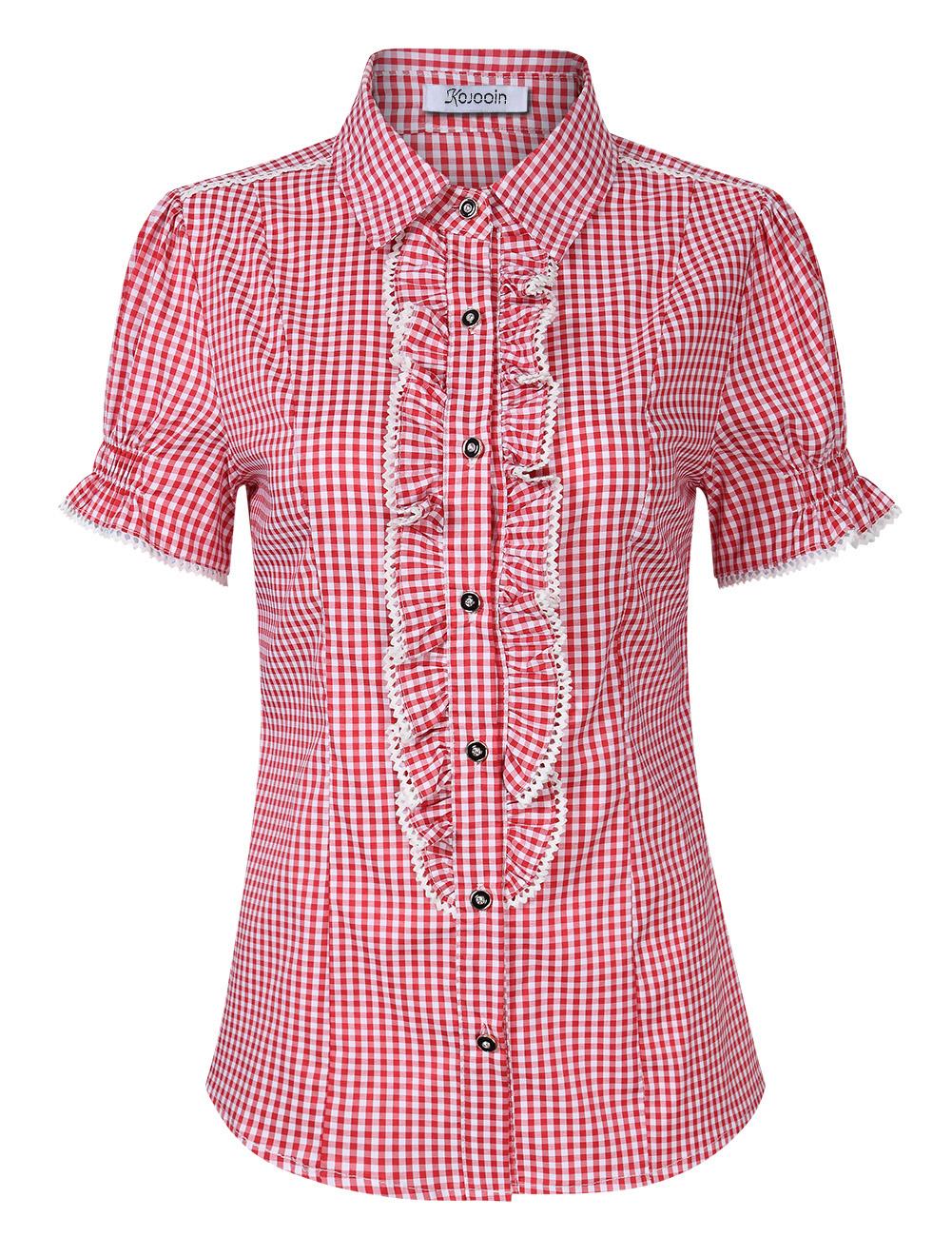 [EU Direct] Women's Beer Festival Plaid Pleated Short Sleeve Casual Shirt for Oktoberfest