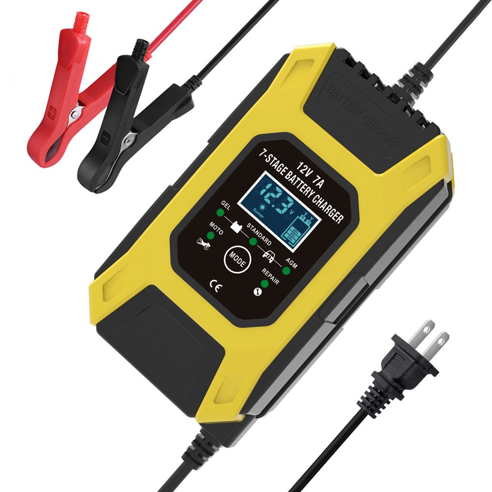 12v 24v Multifunctional Smart  Charger 7-stage Automatic Charging Battery Charger yellow_US-US regulations