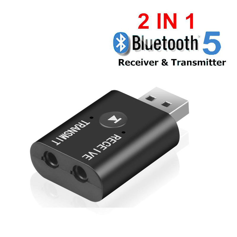 Bluetooth 5.0 Audio Transmitter Receiver Mini 3.5mm AUX USB Music Stereo Bluetooth Dongle Wireless Adapter black