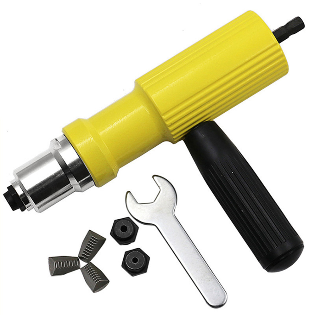 Electric  Riveting Machine Set  Cordless Riveting Drill Adapter Accessories yellow