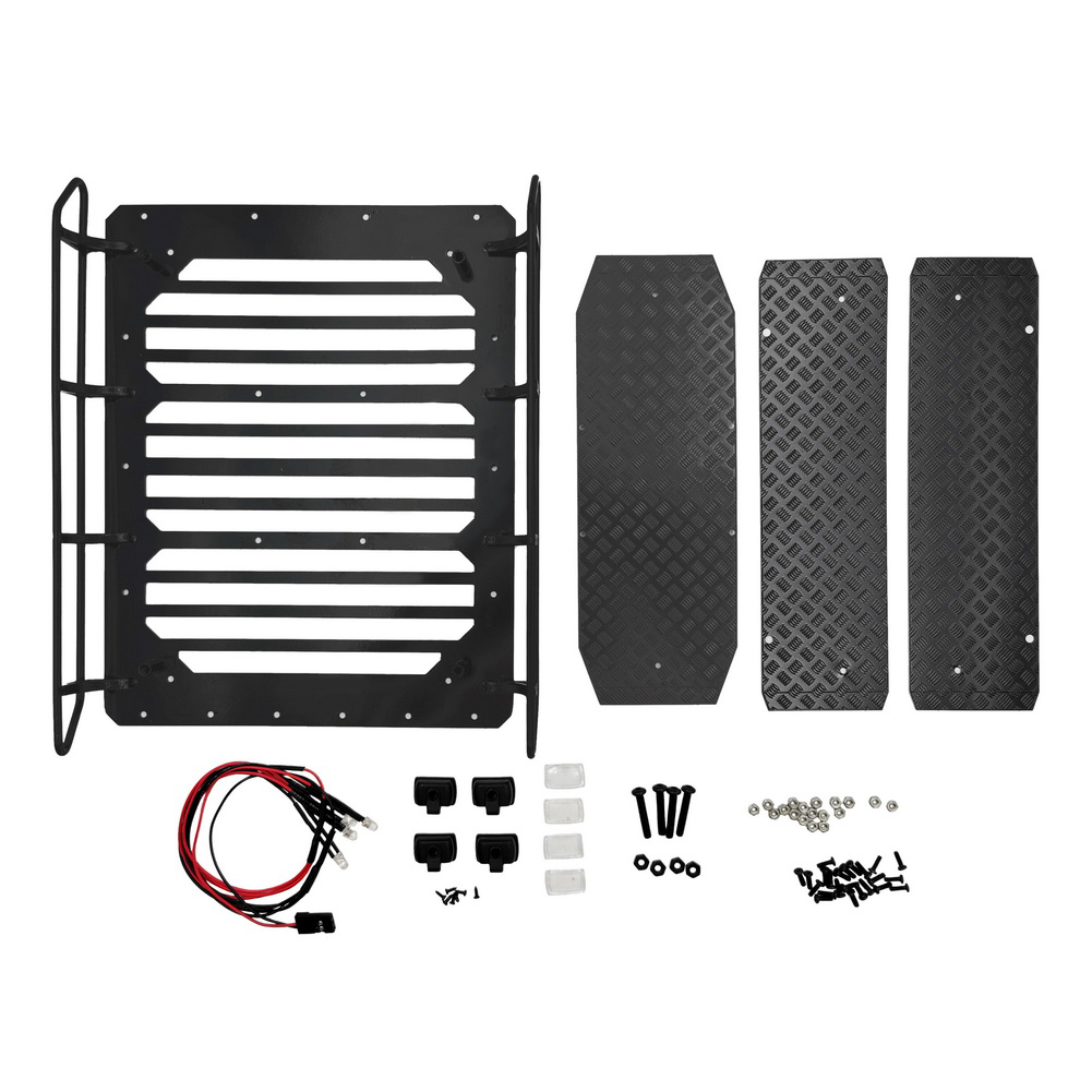 Metal Luggage Rack Roof Frame Spot Light with Anti-slip Pattern for Trx-6 G63 6x6 1/10 Rc Car Parts Non-slip + luggage rack + LED lights