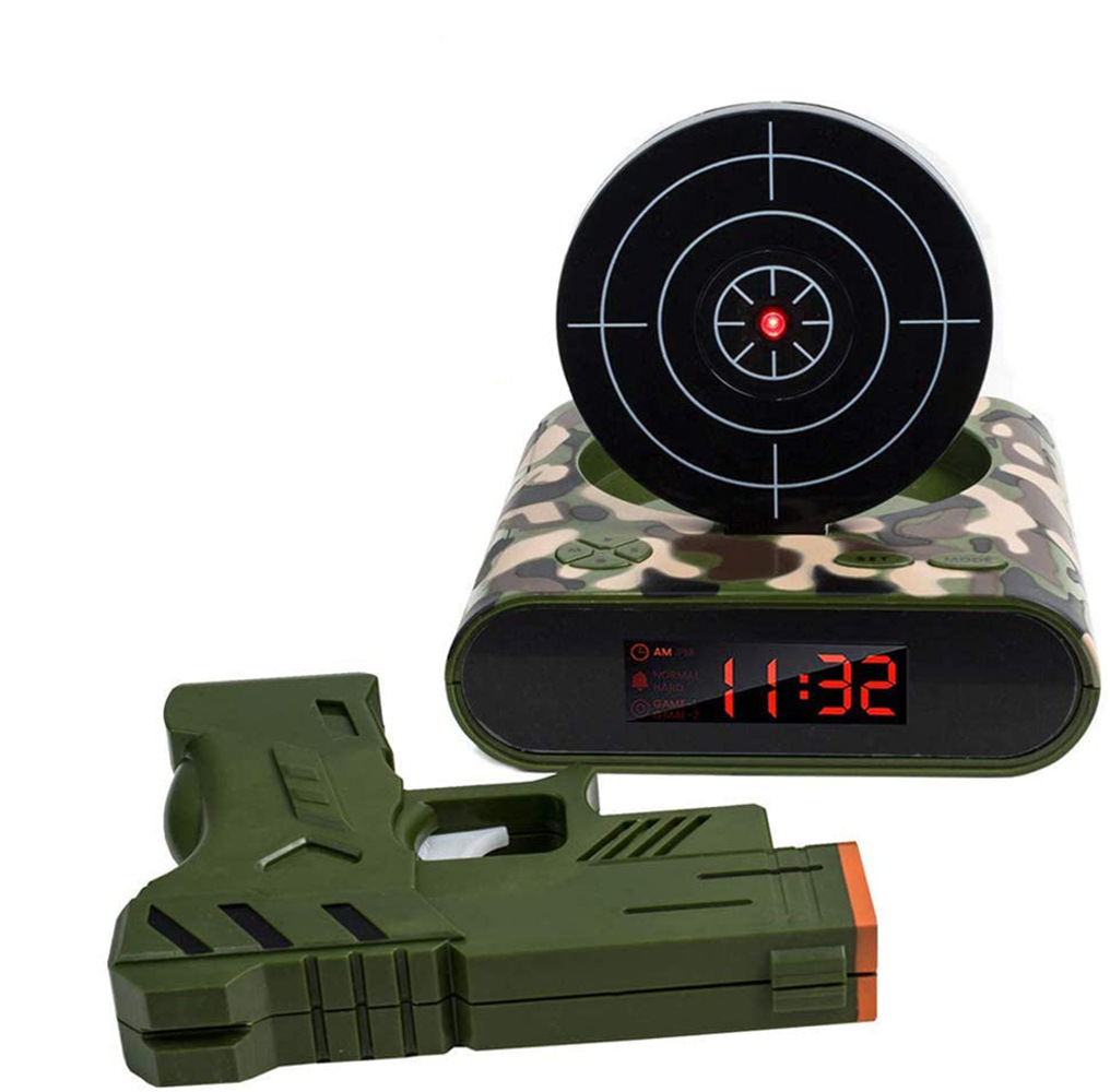 72-CB340 LED Display Alarm Clock Game Infrared Induction Target Alarm Clock 3.875x7.875x7 Camouflage