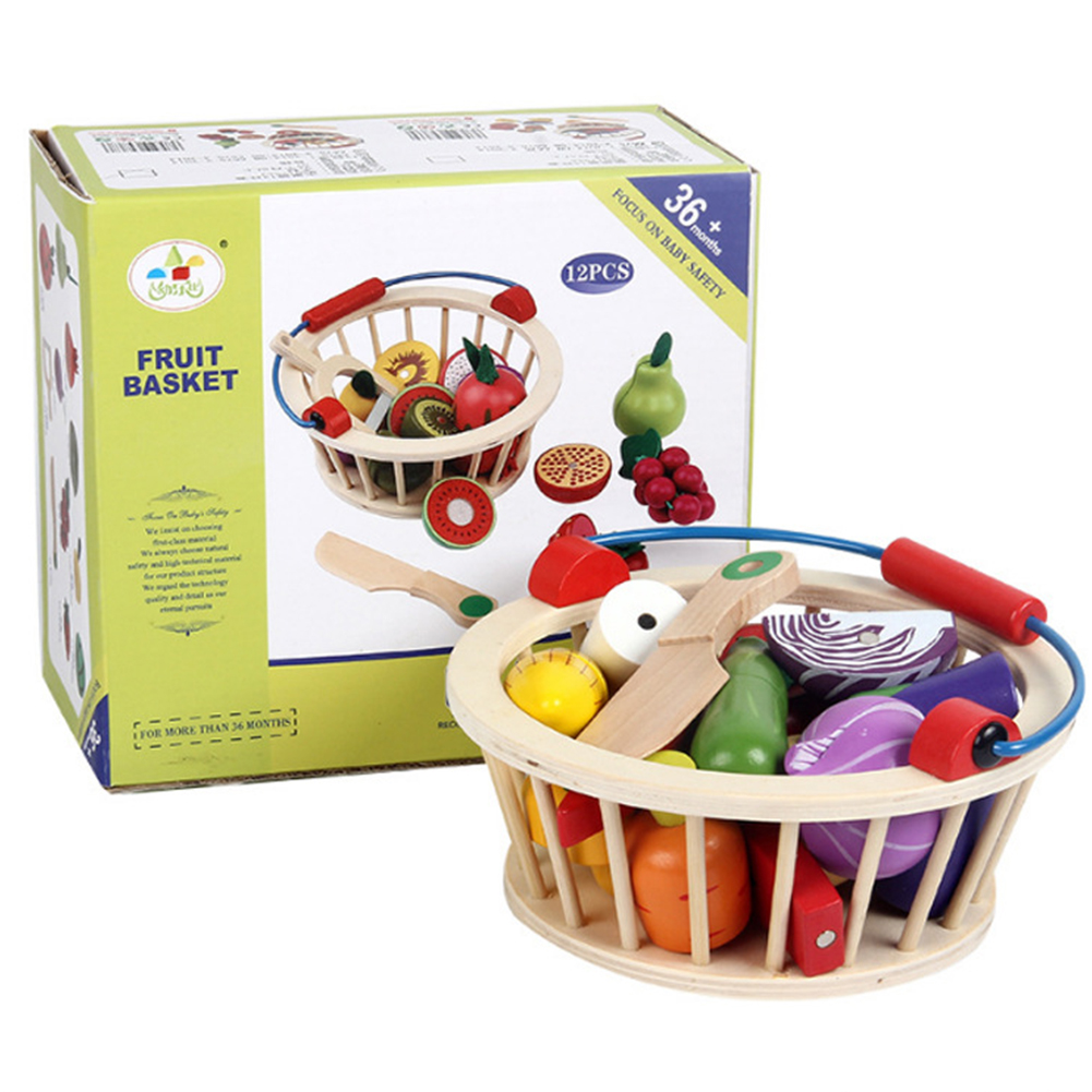Kids Wooden Vegetables Fruit Cutting Play House Toy Early Education Supplies Gift 14pcs/set vegetables