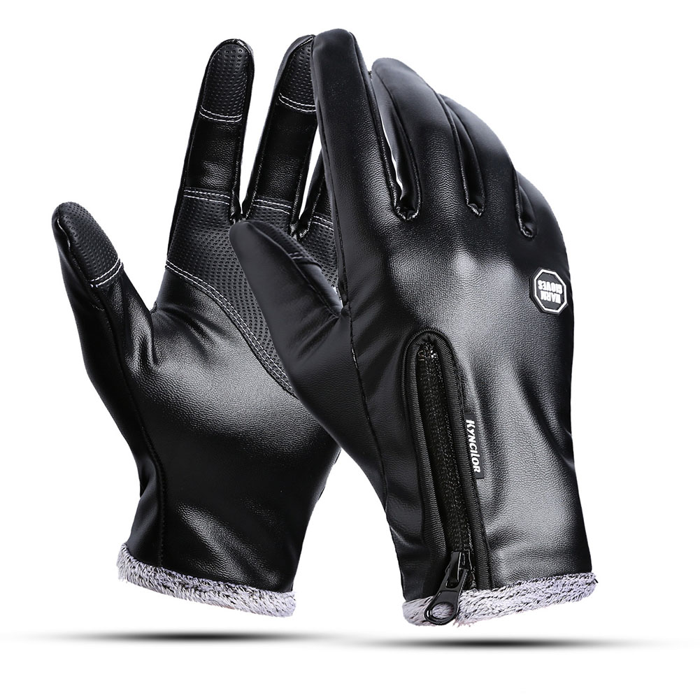 Outdoors Windproof Waterproof Leather Gloves for Women and Men Touch Screen Warm Simier Gloves black_M