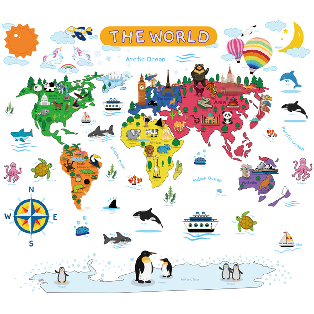 Colorful Animal World Wall Sticker for Kids Room Home Decoration 30*90CM*2PCS typesetting