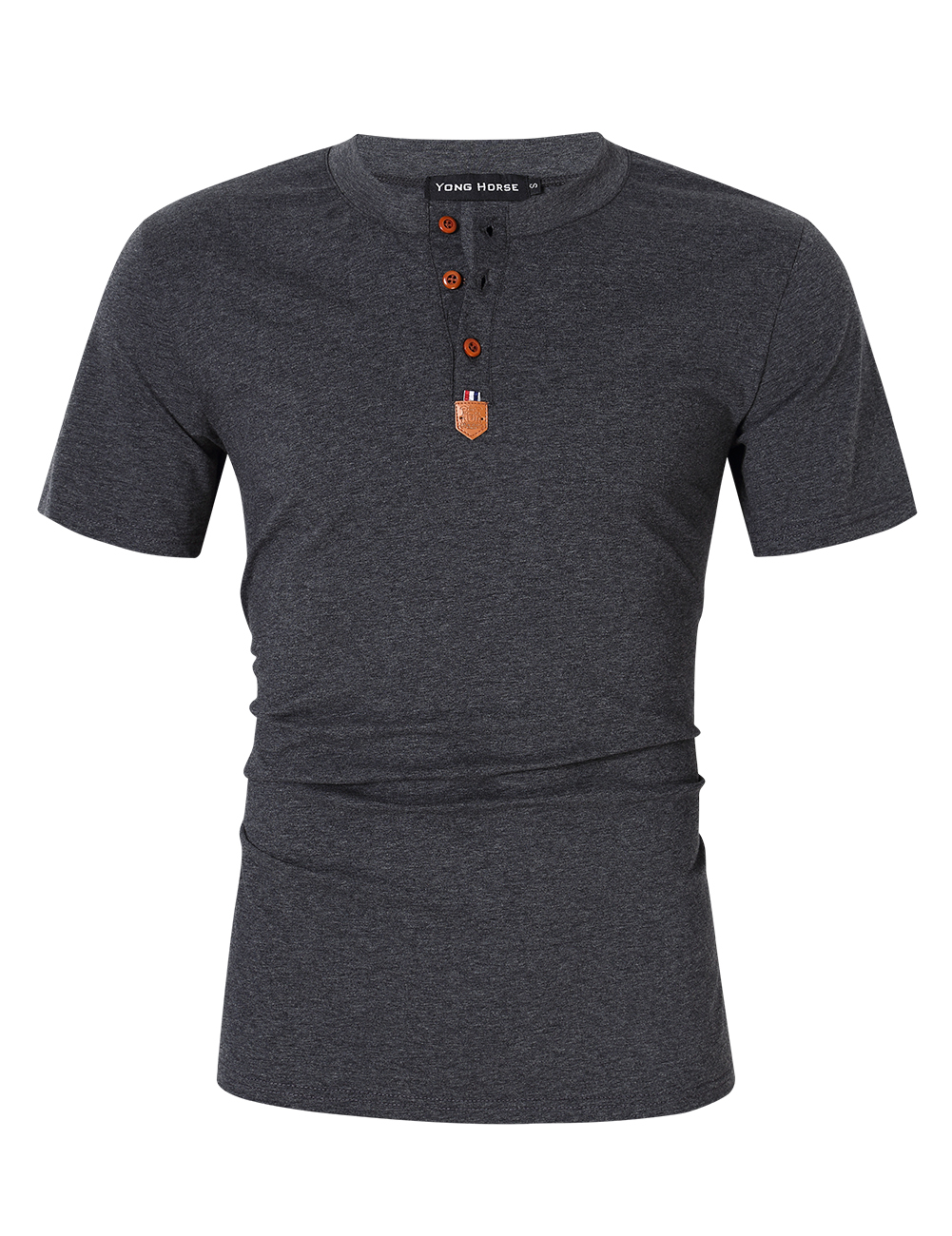 [US Direct] Yong Horse Men's Casual Slim Fit Crewneck Short Sleeve Henley T-Shirts Grey_S