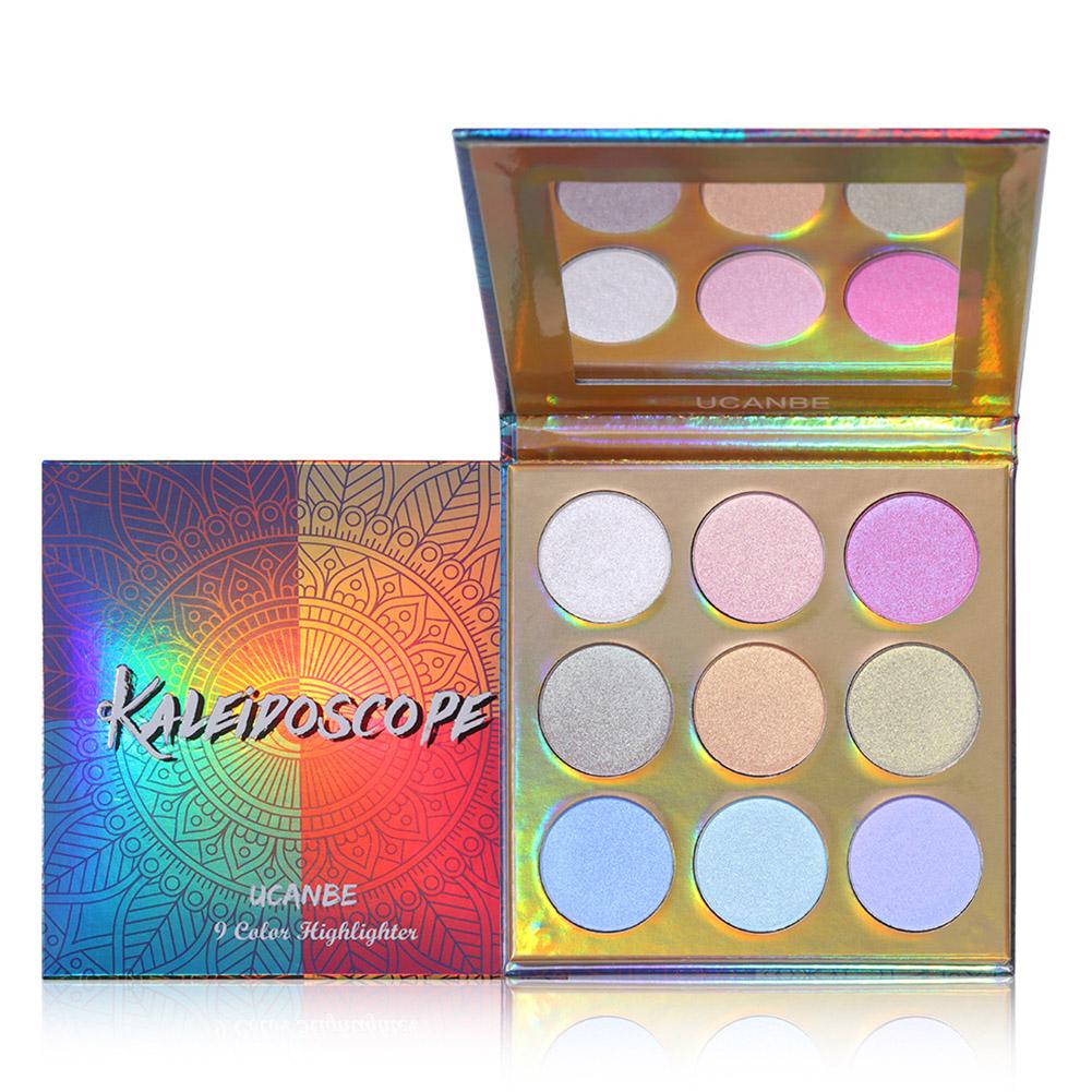 9 Colors High-shine Glitter Highlighter Palette Shimmer Brilliant Rainbow Highligh Powder Kit
