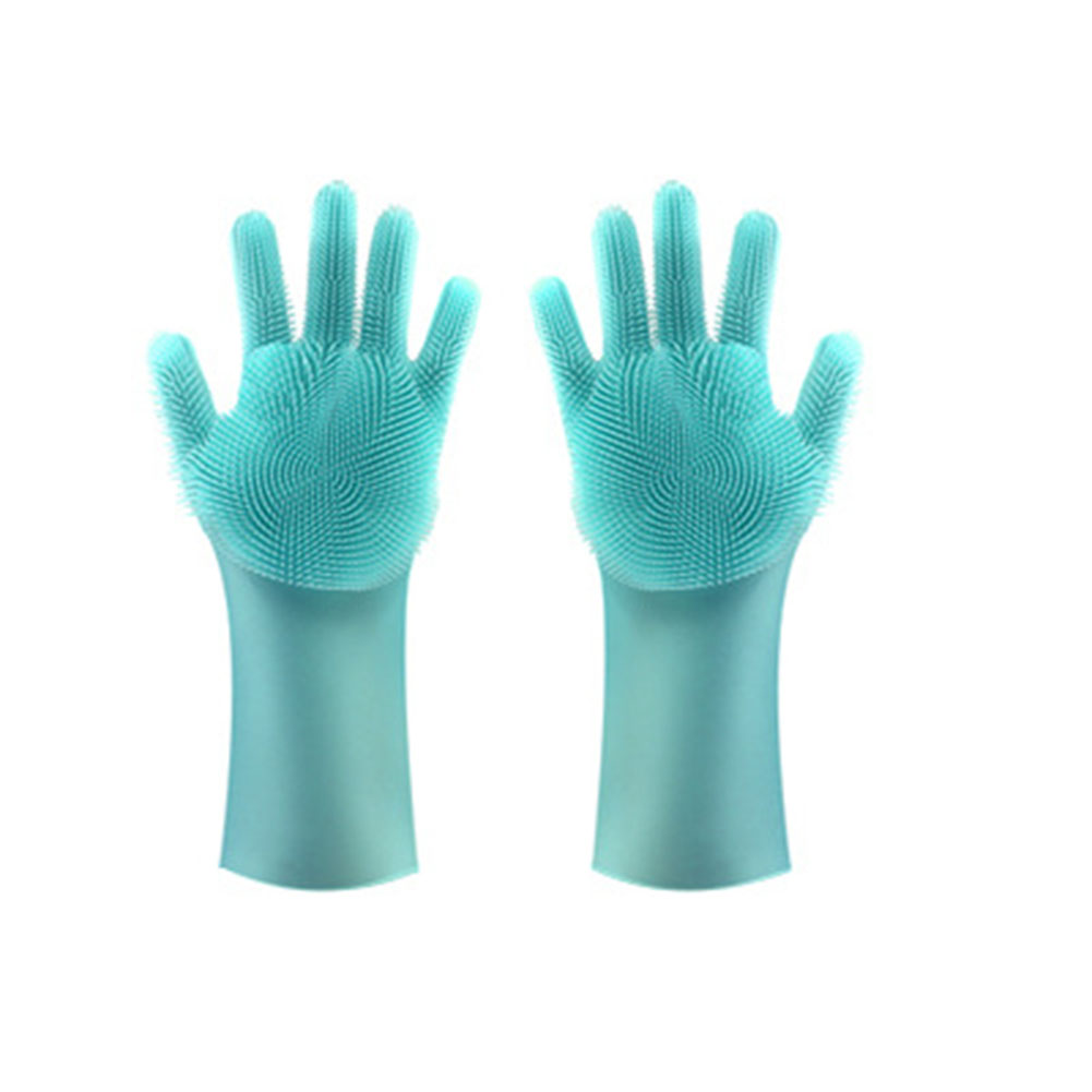 Scrub Gloves Non-slip Heat-resistant Silicone Rubber Gloves Kitchen Dish Washing Cleaning