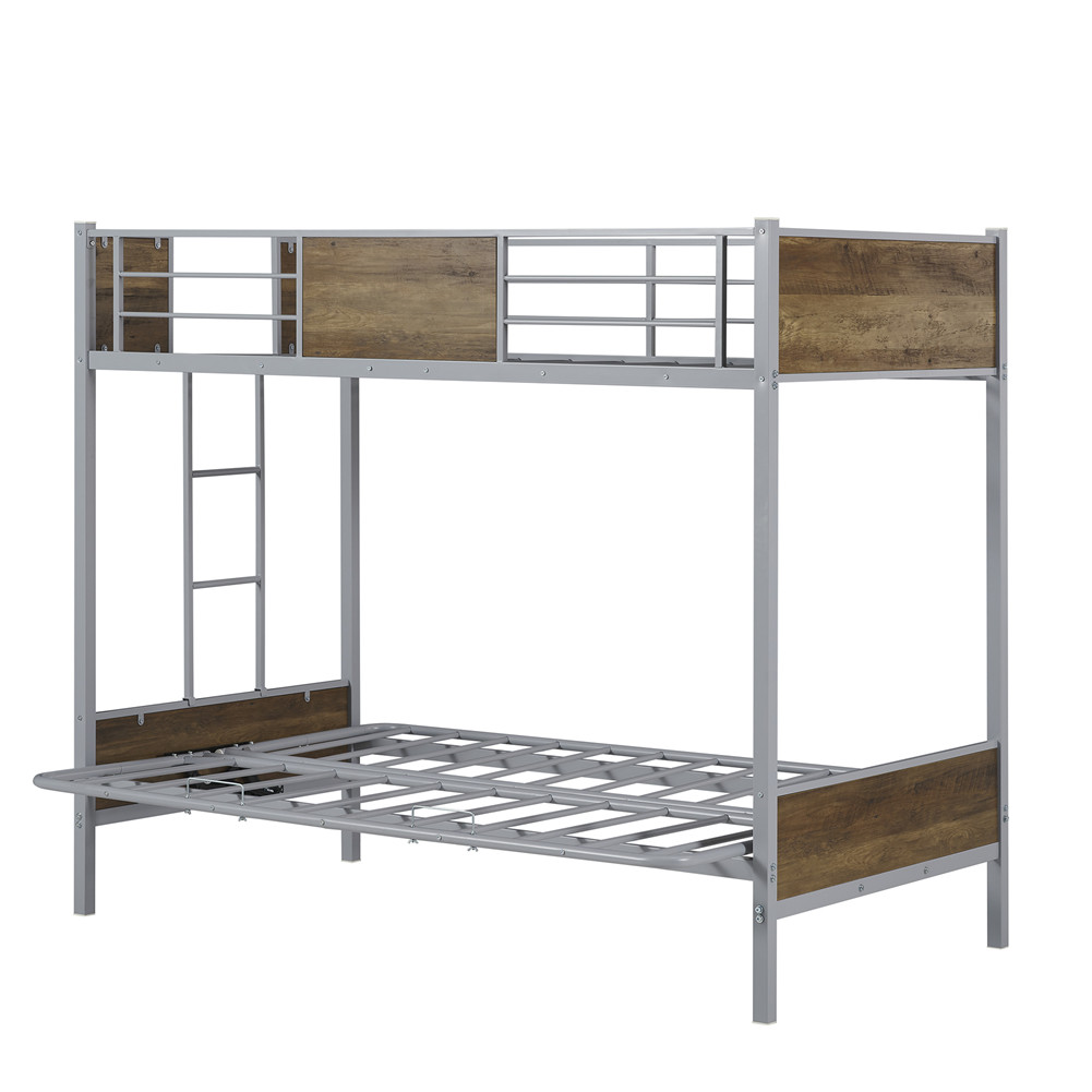 [US Direct] 1set Twin Over Full Bunk Bed With Futon Design Guardrails Ladder Household Funiture (gray)