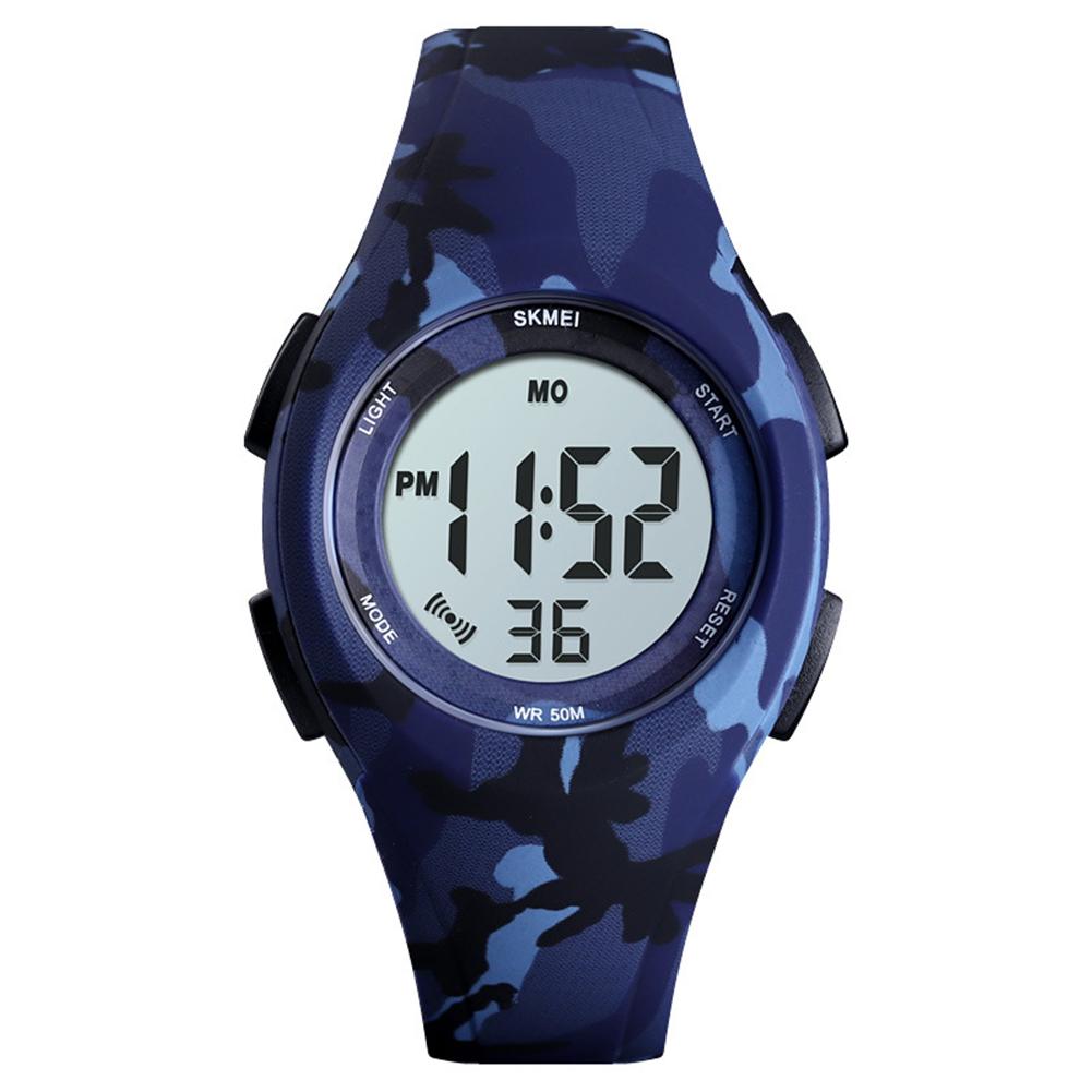 Boys Girls Watch Fashion Luminous Waterproof Electronic Children's Watch Blue camouflage
