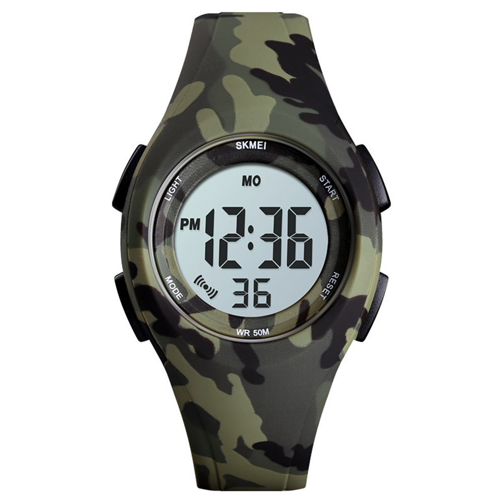 Boys Girls Watch Fashion Luminous Waterproof Electronic Children's Watch Green camouflage