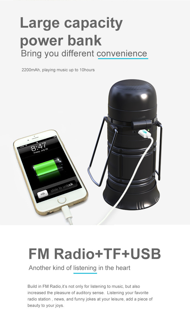 Multifunction Outdoor Bluetooth Speaker - Torch and Lantern Light, FM Radio, Solar Charger, TF Card Slot