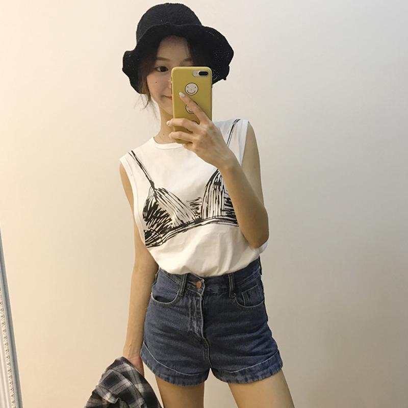 Women Summer Loose Round Collar Bra Printing Sleeveless Tops