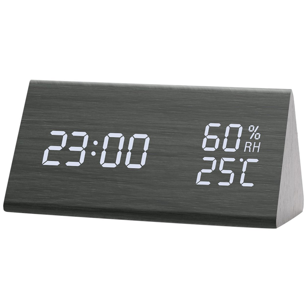 USB Charging Wooden Trihedron Digital Alarm Clock with Temperature & Humidity Detect Decoration Gift