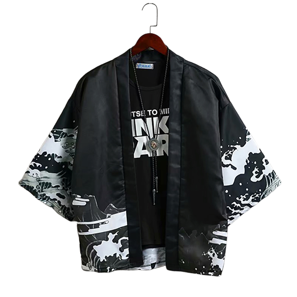Men Casual Sunscreen Shirts Middle Sleeve Animal Pattern Tops black_L