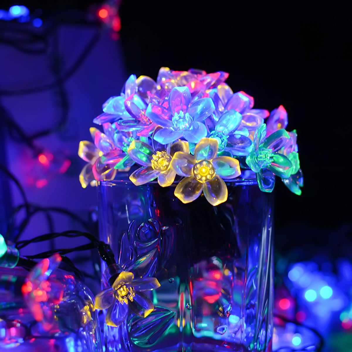7M 50LEDs Cute Peach Blossom Shape Waterproof Solar String Light Lawn Lamp Color light_(ME0003903)