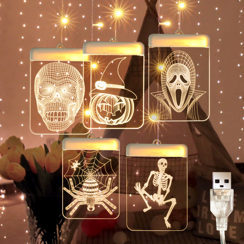 3D Halloween LED String Skull Pumpkin Spider USB Pendant Light Party Room Decoration  Warm White