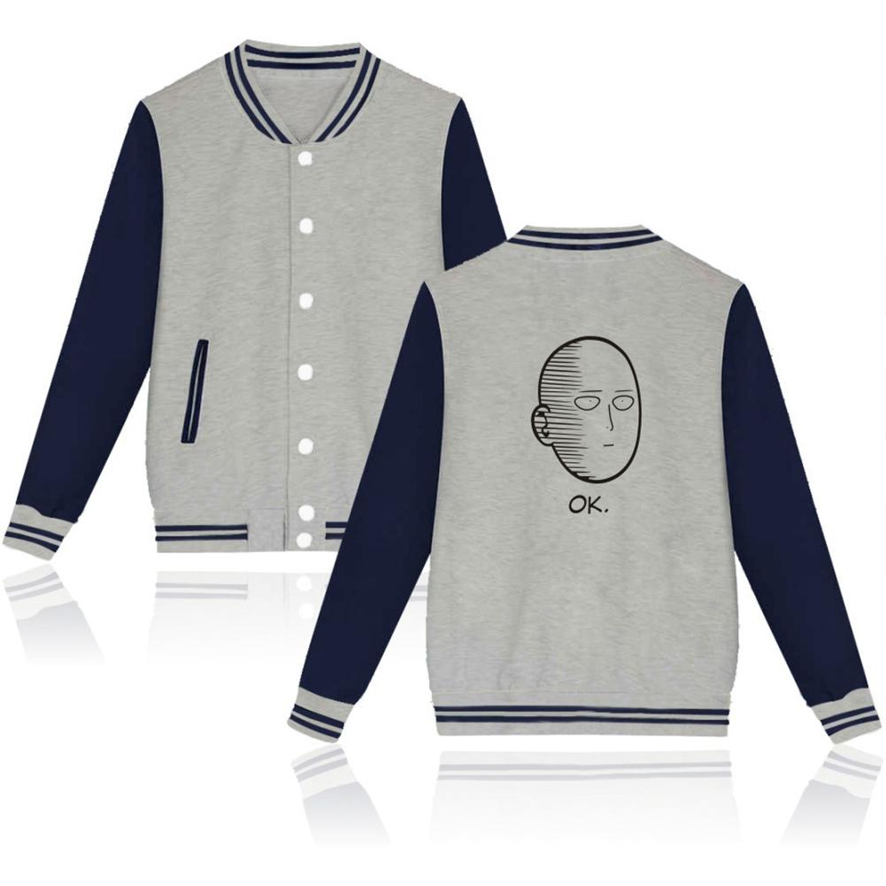 Autumn Winter Fashion Printing Baseball Uniform Coat LF-107ab-3 grey_S