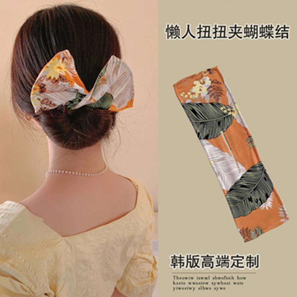 Deft  Bun  Hair  Bun  Maker Elastic Bands Classy Multicolor Cloth Magic Clip Fashion Flexible Reusable Bun Orange green leaves