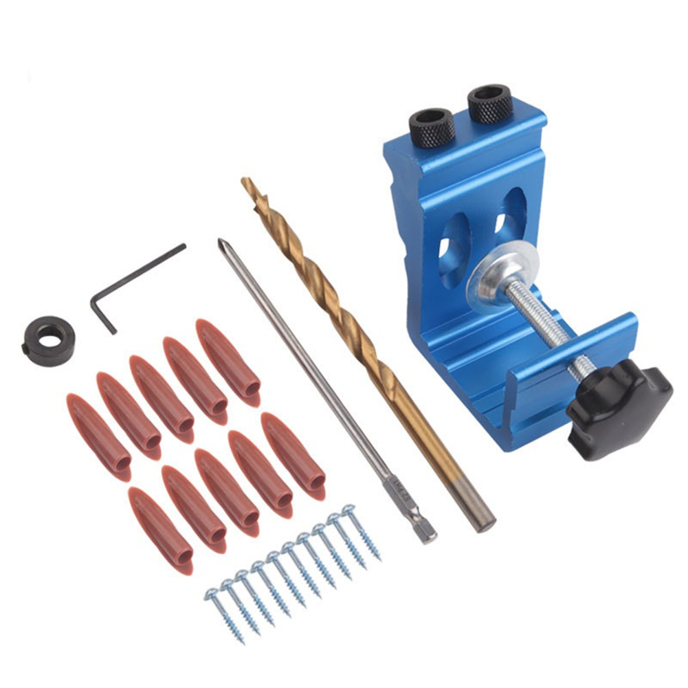 Oblique Hole  Punch    Pocket  Hole  Fixture Drilling Guide Woodworking Woodworking Tool Set Blue