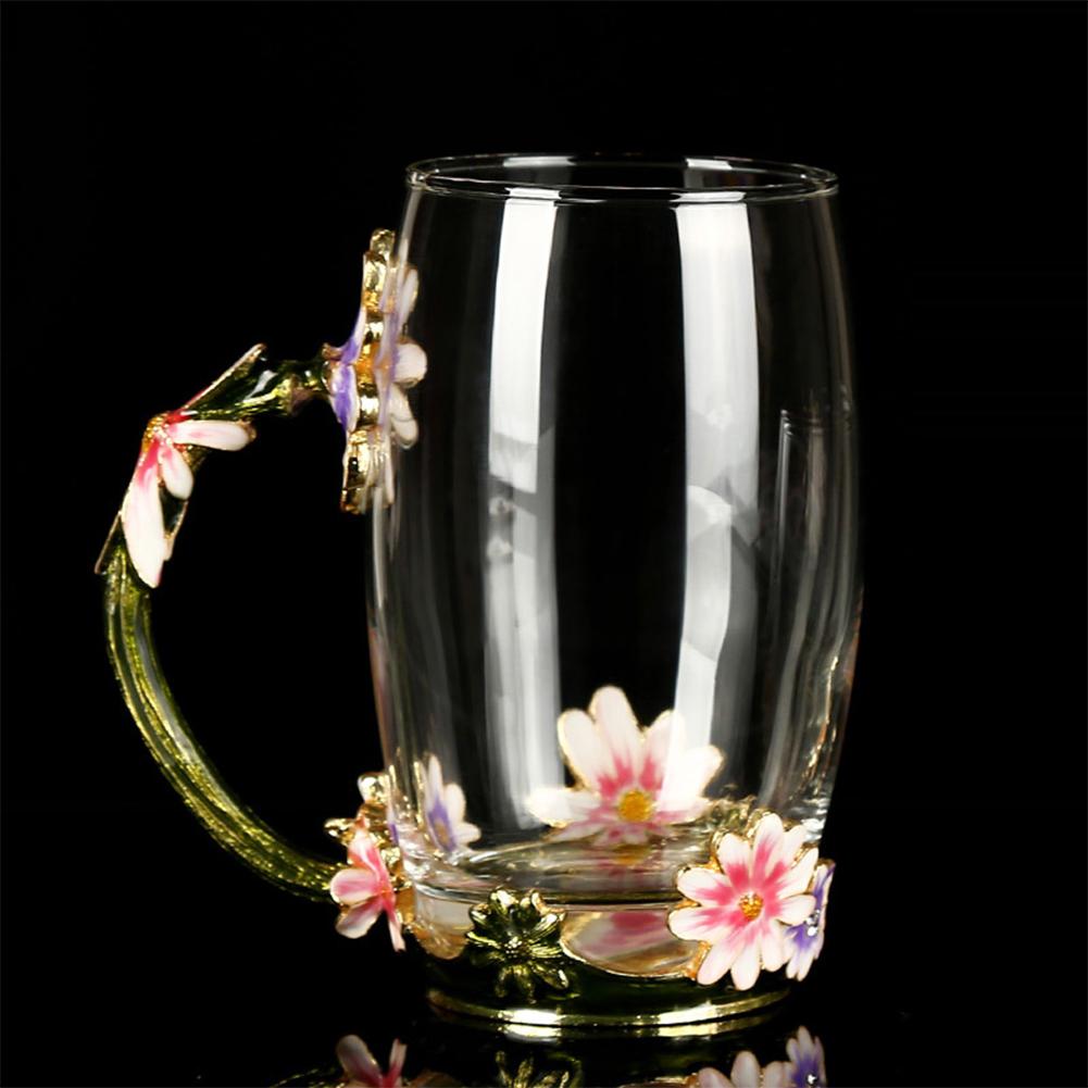 Cute Daisy Pattern Enamel Glass Tea Cup with Drip Spoon Handled Mug Gift Decoration  13x6cm