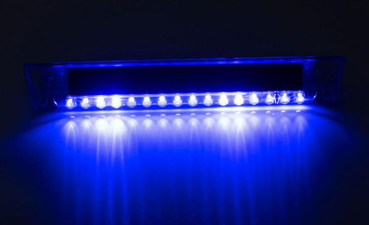 Car Warning Light 14 LED Solar Power Auto Car Emergency Warning Strobe Light Lamp blue