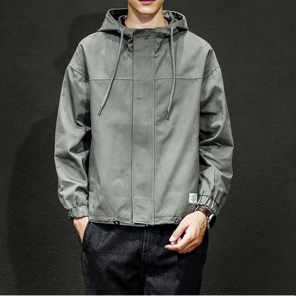 Men Jacket Autumn Large Size Hooded Fashion Magic Sticker Loose Coat Army green_XL