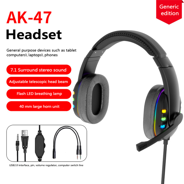 Head-mounted Gaming Headset Wired Stereo Heavy Bass Headphones Phone Generic Noise Reduction Earphones Mobile computer universal version