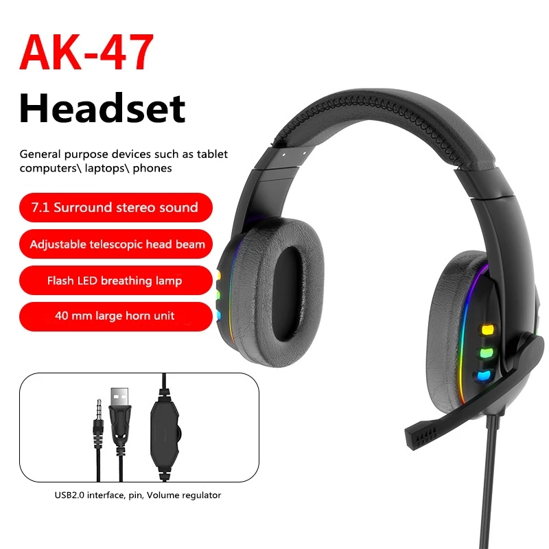 Head-mounted Gaming Headset Wired Stereo Heavy Bass Headphones Phone Generic Noise Reduction Earphones regular version