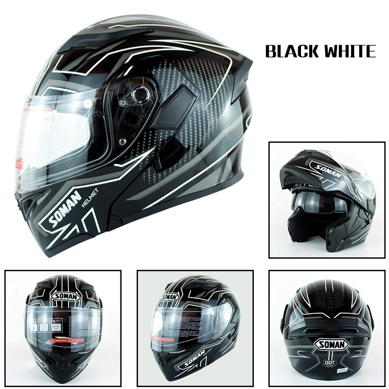 Motorcycle Helmet Unisex Double Lens Uncovered Helmet Off-road Safety Helmet Bright black and white lines_XXL