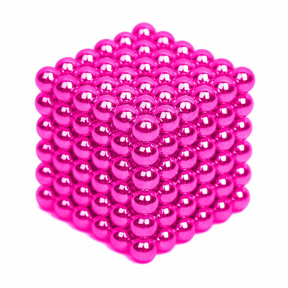 216Pcs 5mm DIY Magic Magnet Magnetic Blocks Balls Sphere Cube Beads Puzzle Building Toys Stress Reliever Pink