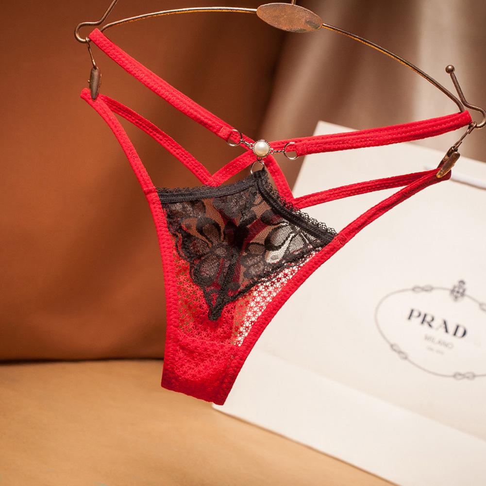 Women G-string Sexy Underwear Lace Pearl Ladies Panties Underwear Pants Thong black_One size
