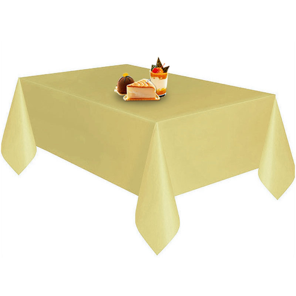 Disposable Solid Color Plastic Table Cloth Cover Table Wear for Outing Picnic Wedding Banquet Restaurant Decoration gold_137X274CM